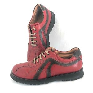 Mogul Italian Casual Oxfords Lace Ups. Red & Brown